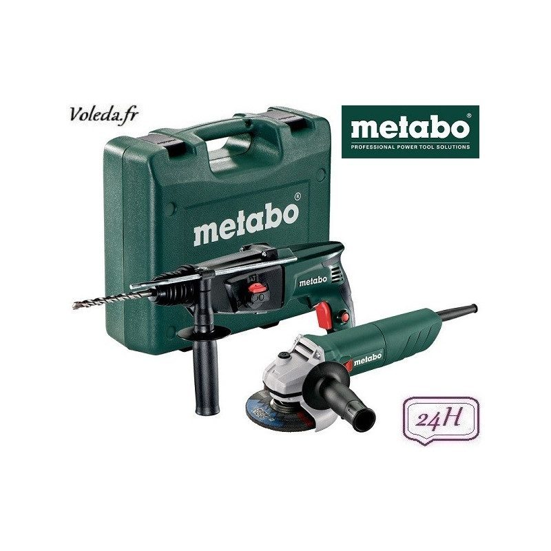 Lot perforateur burineur et meuleuse disqueuse Metabo