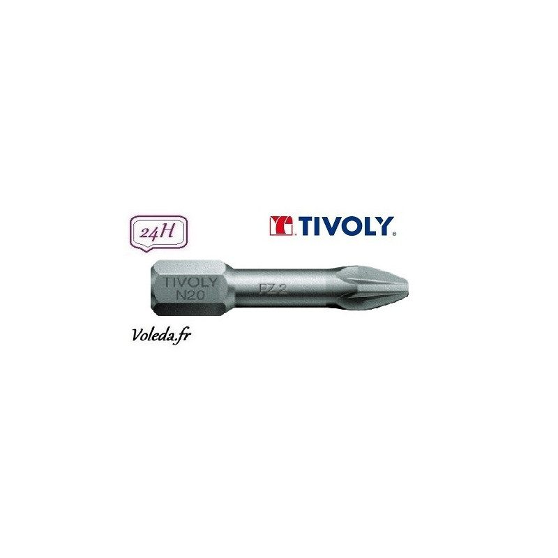 Embout de vissage Tivoly Torsion Pozidriv 25mm N2 x10