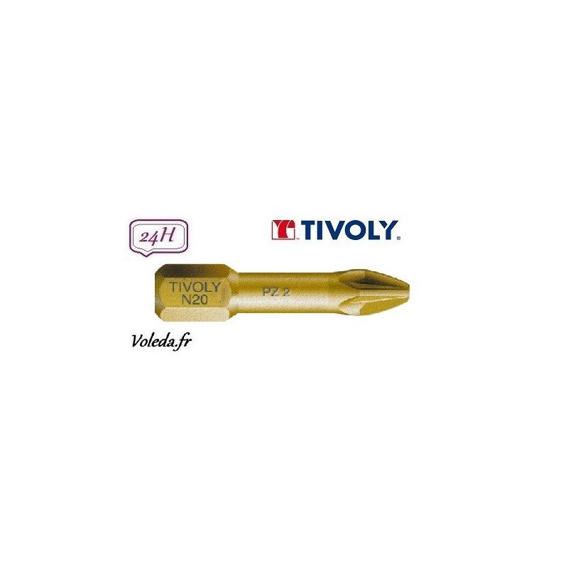 Embout de vissage Tivoly Extra dur torsion Pozidriv 25mm N1-2-3