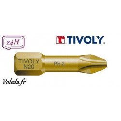 Embout de vissage Tivoly Extra dur torsion Philips 25mm N1-2-3
