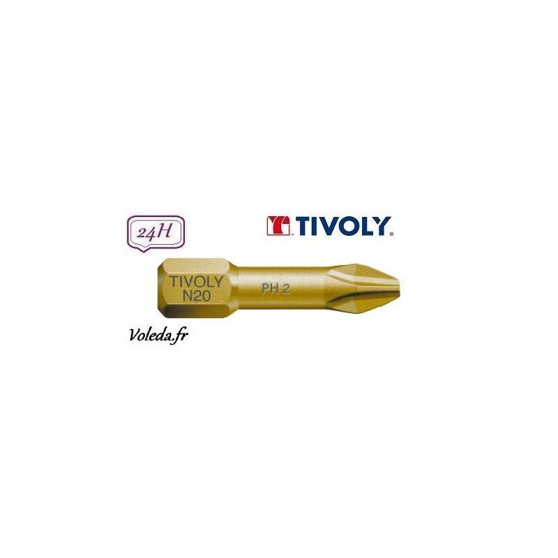 Embout de vissage Tivoly Extra dur torsion Philips 25mm N2 x10
