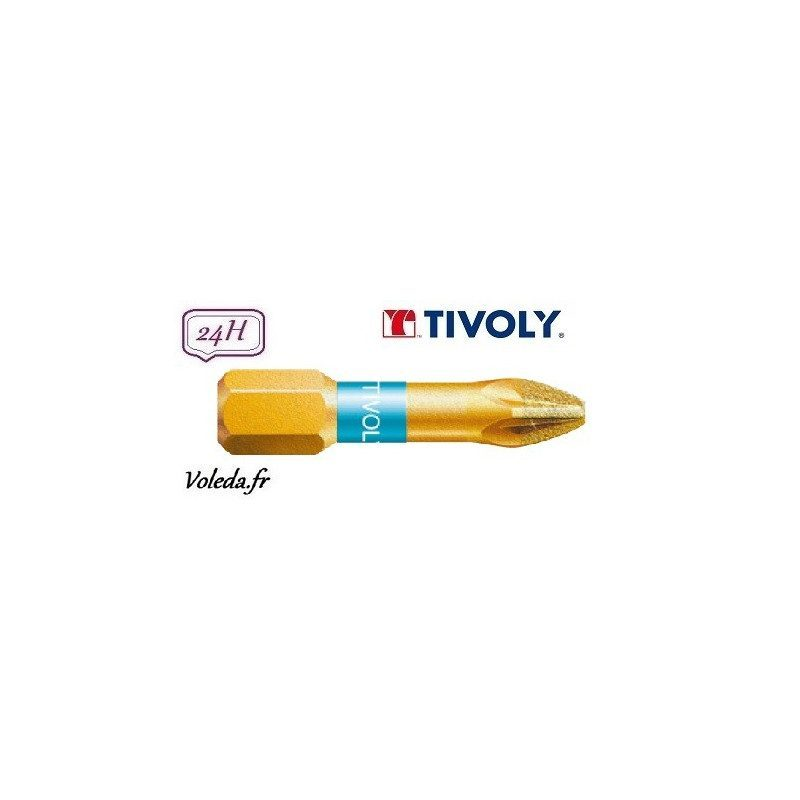 Embout de vissage Tivoly Diamant bi-torsion Pozidriv 25mm N1-2-3