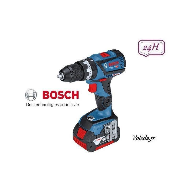 Perceuse visseuse à percussion Bosch connectée GSB 18V-60 C 2 x 5Ah