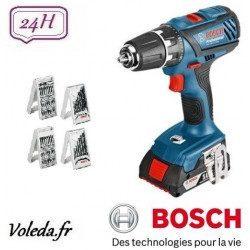 Perceuse visseuse Bosch GSR 18-2-LI Plus + 63 accessoires