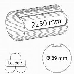 Tube d'enroulement porte de garage Deprat 89 2250 mm - lot de 3