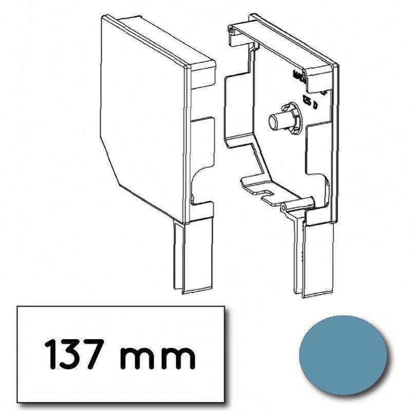 Flasque volet roulant aluminium 45° pan coupe 137 mm bleu pastel - ral 5024