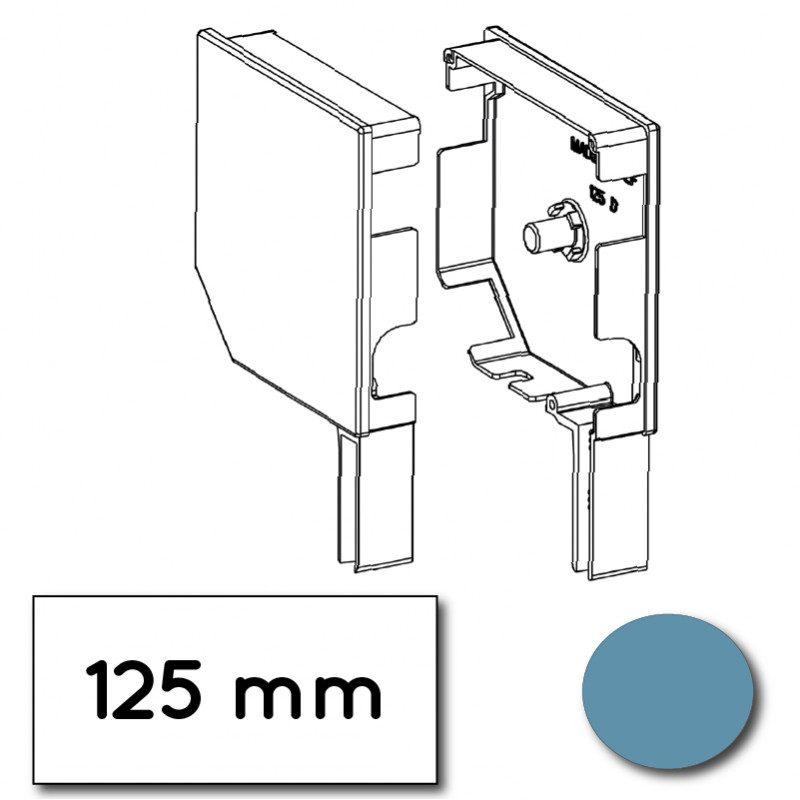Flasque volet roulant aluminium 45° pan coupe 125 mm bleu pastel - ral 5024