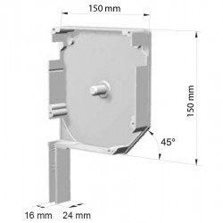 Flasque volet roulant aluminium 45° pan coupe 150 mm
