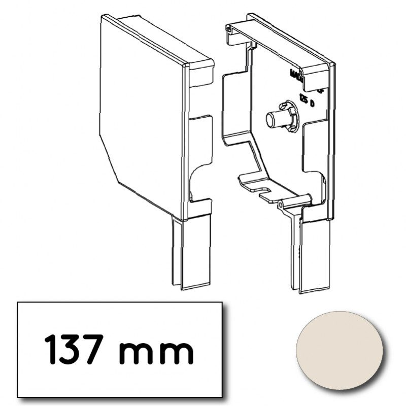 Flasque volet roulant aluminium 45° pan coupe 137 mm creme - ral 9001