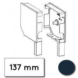 Flasque volet roulant aluminium 45° pan coupe 137 mm bleu acier - ral 5011