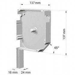 Flasque volet roulant aluminium 45° pan coupe 137 mm