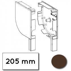 Flasque volet roulant aluminium 45° pan coupe 205 mm marron sepia - ral 8014