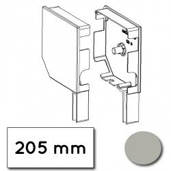 Flasque volet roulant aluminium 45° pan coupe 205 mm gris alu-metallic - ral 9006