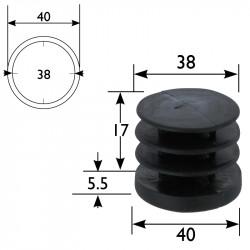 Embout plastique pour tube rond diamètre 40 mm