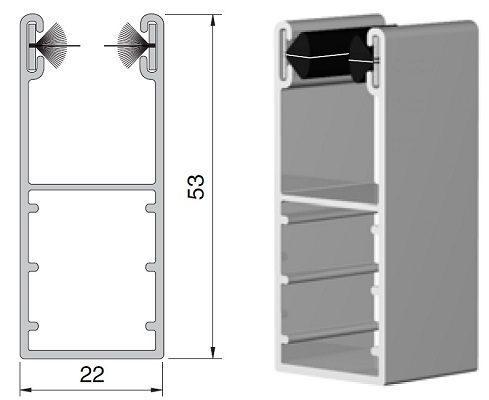 coulisse volet roulant aluminium 53 x 22